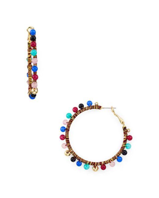 Rebecca Minkoff - Multicolor Bead Hoop Earrings - Lyst
