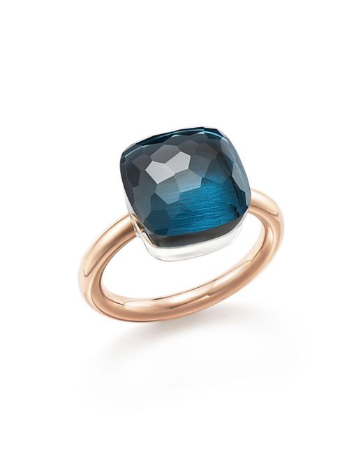 Pomellato - Nudo Maxi Ring With London Blue Topaz In 18k Rose And White Gold - Lyst