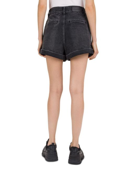 5ec2a302c4 The Kooples Black Denim Shorts With Lacing in Black - Save 3% - Lyst