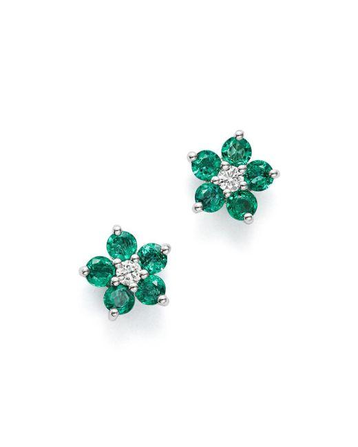 Bloomingdale's - Multicolor Emerald & Diamond Flower Stud Earrings In 14k White Gold - Lyst