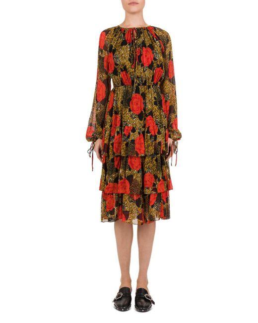 The Kooples Red Jungle Flowers Printed Midi Dress