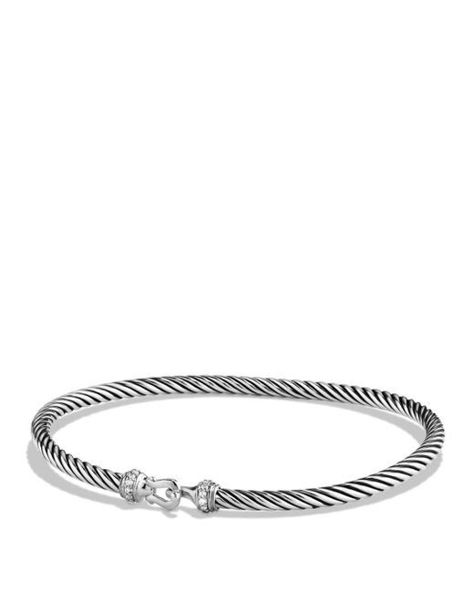 David Yurman - Metallic Cable Buckle Bracelet With Diamonds - Lyst