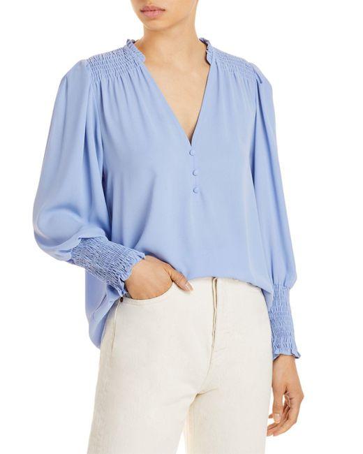 Aqua Blue V Neck Button Front Blouse