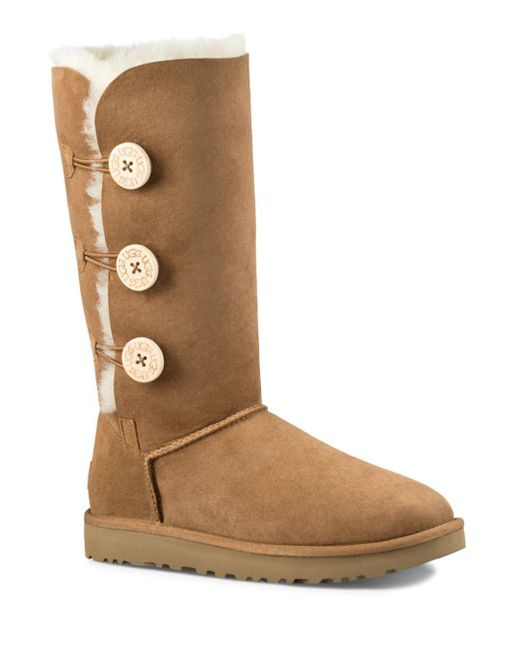 Ugg - Brown Bailey Button Triplet Sheepskin Mid Calf Boots - Lyst