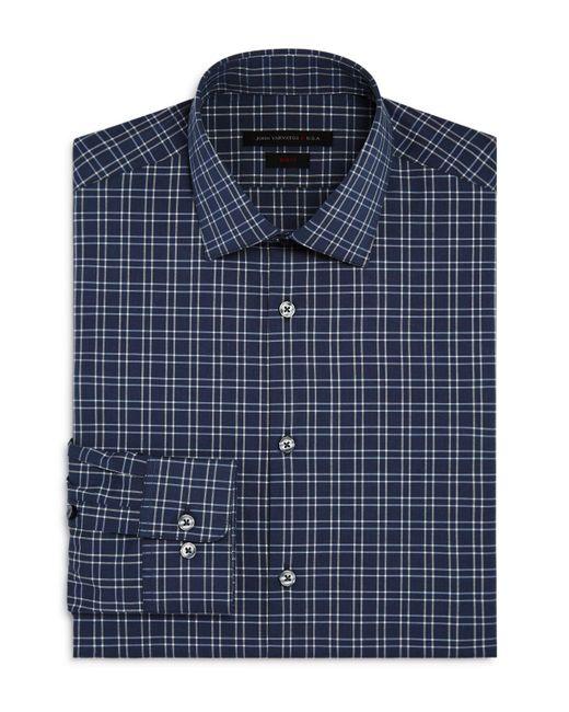 John Varvatos | Gray Windowpane Check Slim Fit Stretch Dress Shirt for Men | Lyst