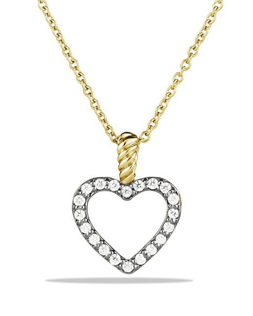 David Yurman - Yellow Cable Collectibles Heart Pendant With Diamonds In Gold On Chain - Lyst