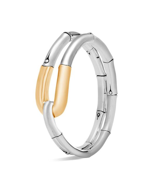 John Hardy - Metallic 18k Yellow Gold And Sterling Silver Bamboo Flex Cuff - Lyst