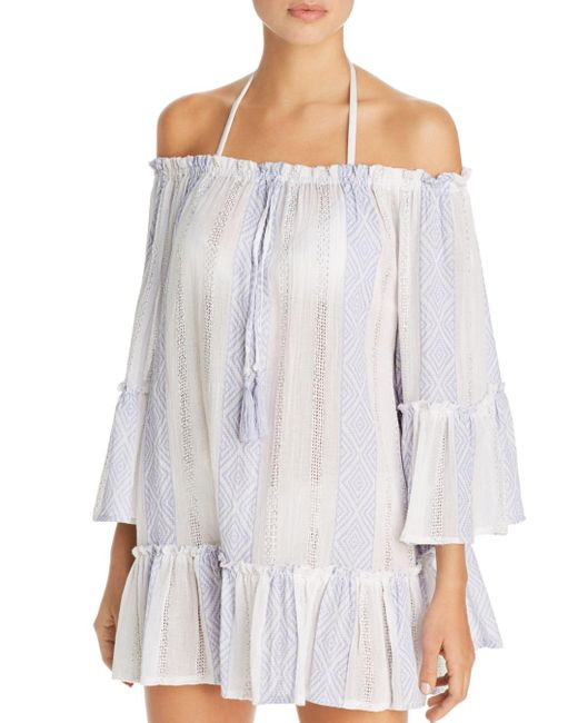 Surf Gypsy Blue Woven Stripe Off - The - Shoulder Tunic Swim Cover - Up