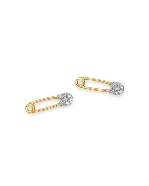 Adina Reyter Metallic 14k Yellow Gold Diamond Safety Pin Stud Earrings