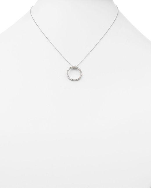Roberto Coin Metallic 18k White Gold Small Circle Pendant Necklace With Diamonds