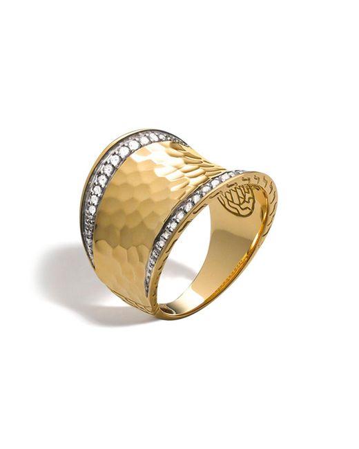 John Hardy - Metallic Palu 18k Gold & Diamond Pavé Small Saddle Ring - Lyst