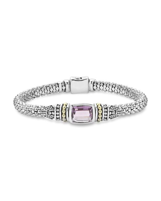 Lagos - Metallic 18k Gold And Sterling Silver Caviar Color Bracelet With Amethyst - Lyst