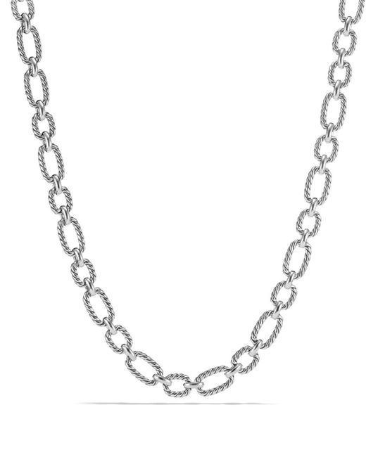David Yurman - Metallic Chain Cushion Link Necklace With Blue Sapphire In Sterling Silver - Lyst