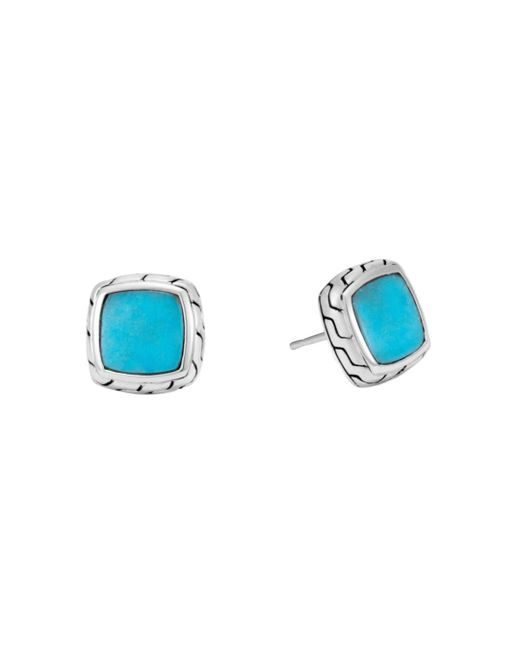 John Hardy Blue Sterling Silver Classic Chain Stud Earrings With Turquoise