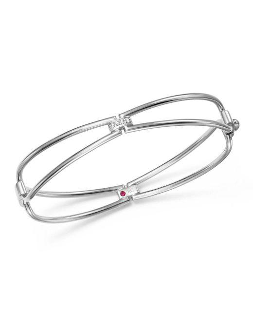 Roberto Coin - Metallic 18k White Gold Classic Parisienne Diamond Bangle Bracelet - Lyst