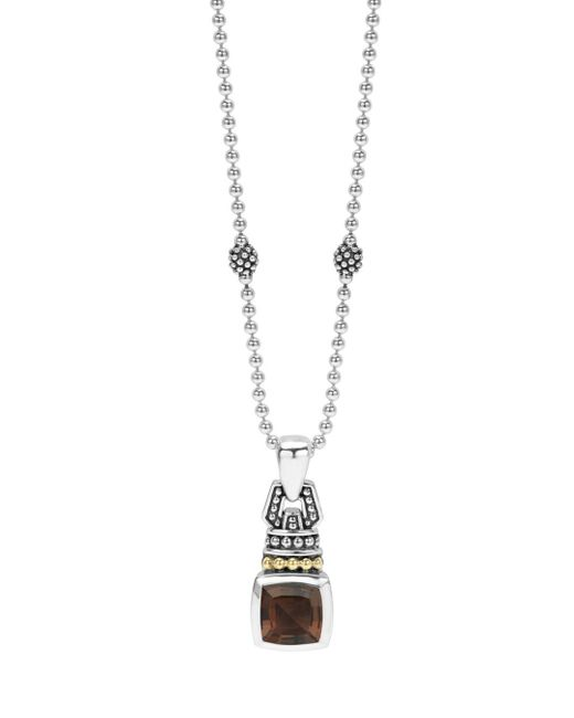 Lagos Metallic 18k Gold And Sterling Silver Caviar Color Pendant Necklace With Smoky Quartz