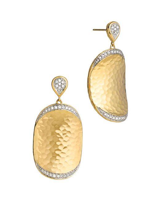 John Hardy | Metallic Palu 18k Gold Diamond Pavé Large Oval Drop Earrings | Lyst