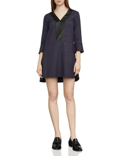 BCBGMAXAZRIA - Blue Shirlee Faux-leather Trim Dress - Lyst