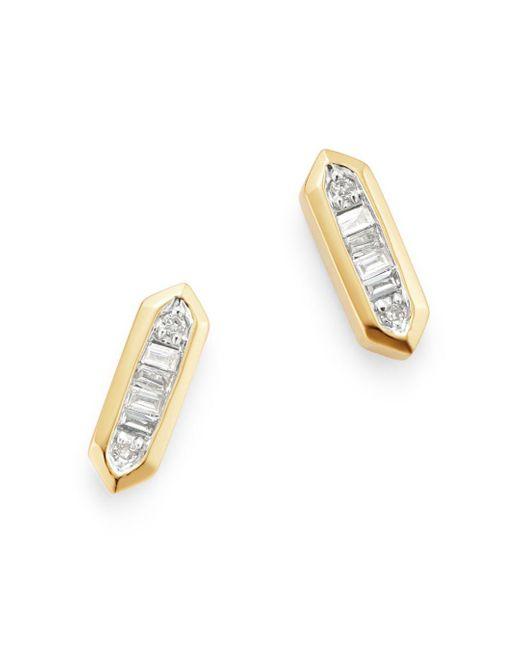 Adina Reyter Metallic 14k Yellow Gold Diamond Bar Stud Earrings