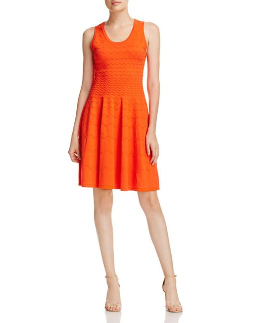 MILLY - Red Degrade Chevron Fit-and-flare Dress - Lyst