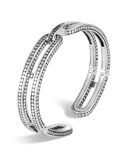 John Hardy - Metallic Sterling Silver Dot Small Kick Cuff With Pavé Diamonds - Lyst