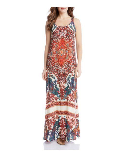 Karen Kane | Multicolor Print Side Slit Maxi Dress | Lyst