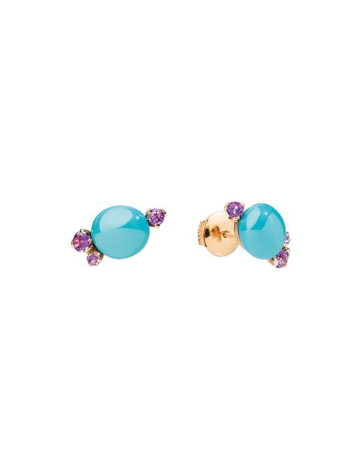 Pomellato - Blue Capri Earrings In 18k Rose Gold With Turquoise Ceramic And Amethyst - Lyst