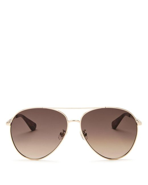 Kate Spade - Brown Women's Carolane Brow Bar Aviator Sunglasses - Lyst