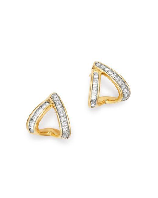 Adina Reyter Metallic 14k Yellow Gold Heirloom Pavé & Baguette - Cut Diamond Double J Hoop Earrings