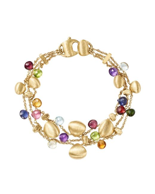 Marco Bicego | Metallic 18k Yellow Gold Paradise Teardrop Three Strand Gemstone Bracelet | Lyst