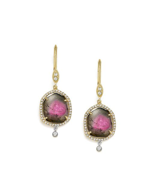 Meira T | Multicolor 14k White And Yellow Gold Diamond And Watermelon Tourmaline Drop Earrings | Lyst