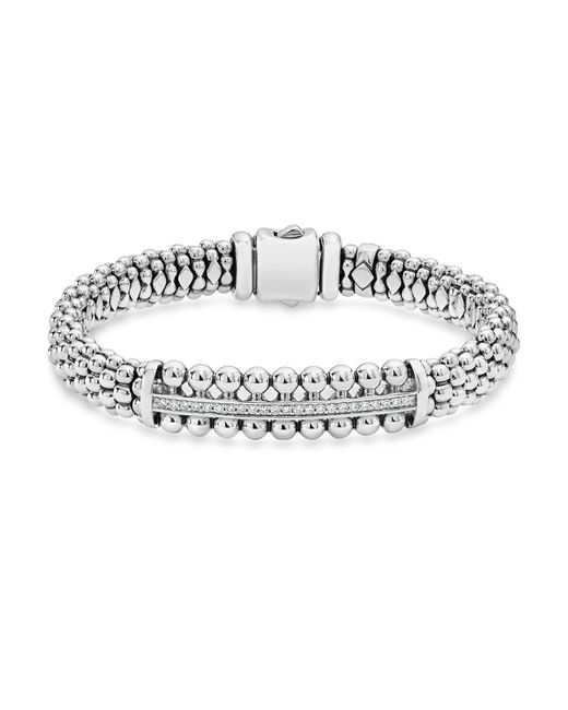 Lagos - Metallic Sterling Silver Caviar Spark Diamond Bar Bracelet - Lyst