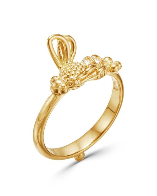 Temple St. Clair Metallic Garden Of Earthly Delights Diamond & 18k Yellow Gold Bee Ring