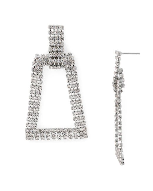 Aqua Metallic Open Geometric Hoop Drop Earrings