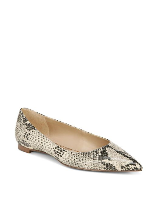 Sam Edelman Natural Stacey Pointed Toe Embossed Flats