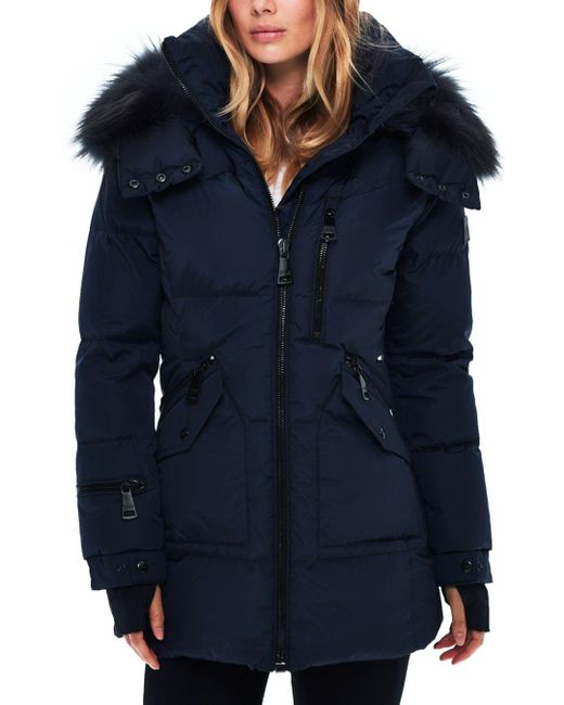 Sam. - Blue Fur Cruiser Down Coat - Lyst