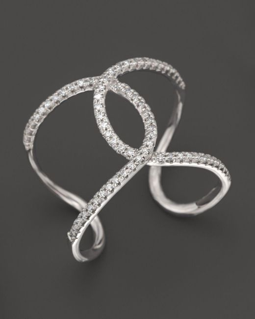 KC Designs - Diamond Interlocking Ring In 14k White Gold - Lyst