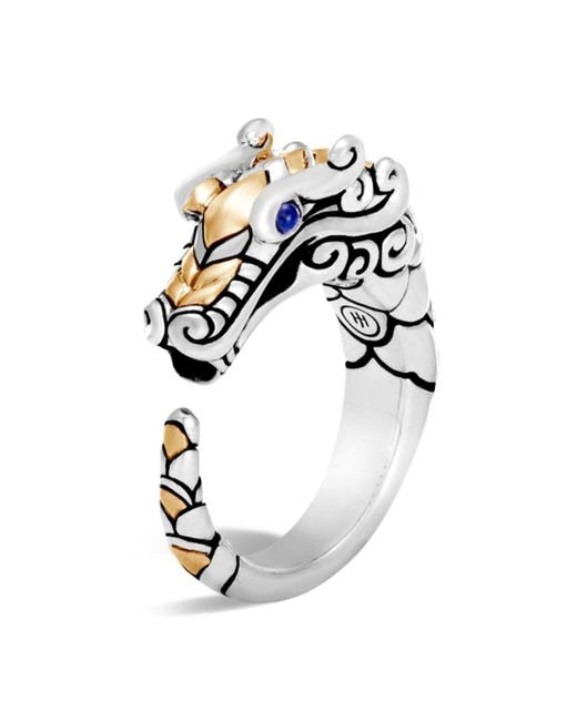 John Hardy Metallic 18k Gold And Sterling Silver Legends Naga Ring With Sapphire