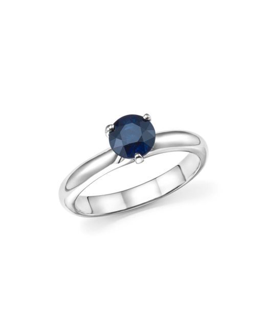 Roberto Coin - Blue Platinum Prong Set Sapphire Ring - Lyst