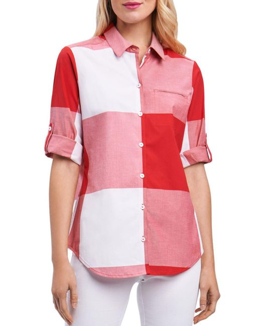 Foxcroft - Red Gingham Shirt - Lyst