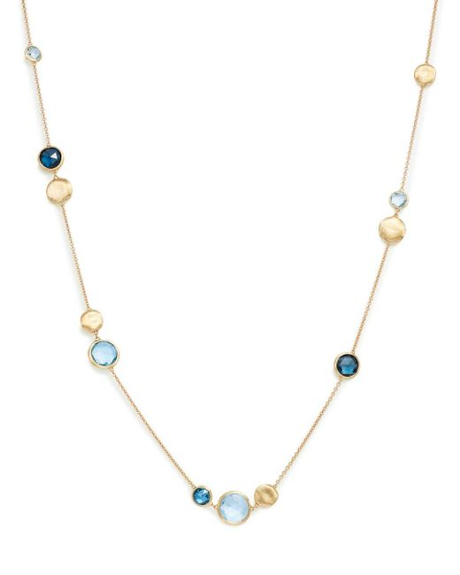 Marco Bicego Multicolor 18k Yellow Gold Jaipur Mixed Blue Topaz Collar Necklace