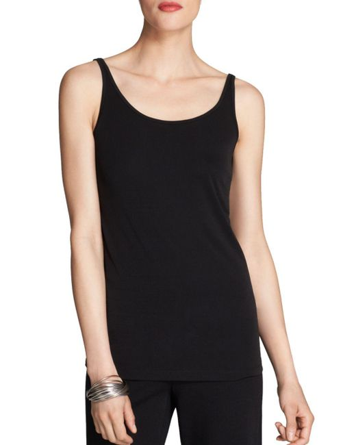 Eileen Fisher - Black System Scoop Neck Long Silk Cami - Lyst