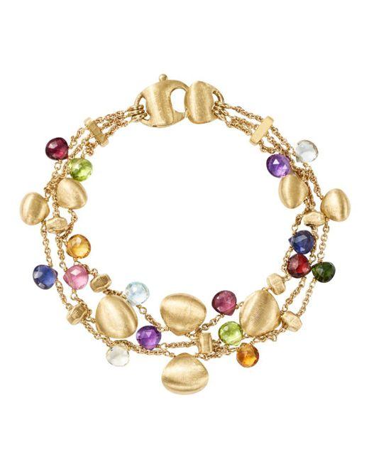 Marco Bicego - Metallic 18k Yellow Gold Paradise Teardrop Three Strand Gemstone Bracelet - Lyst