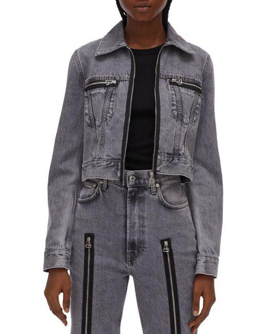 Helmut Lang Multicolor Fem Cotton Zipper Detail Trucker Jacket
