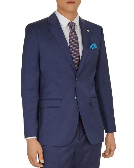 Ted Baker - Blue Blairj Debonair Plain Wool Slim Fit Suit Jacket for Men - Lyst