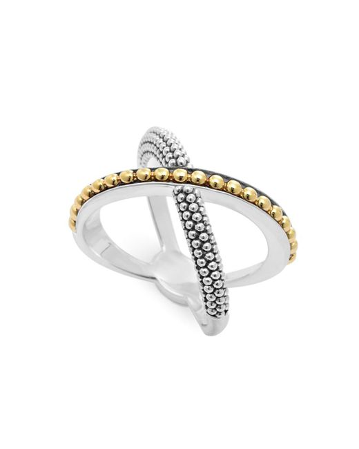 Lagos - Metallic 18k Gold And Sterling Silver Enso X Ring - Lyst