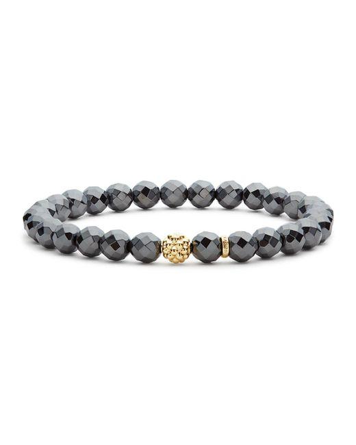 Lagos - Metallic Caviar Icon Hematite Bracelet With 18k Gold Caviar Station - Lyst