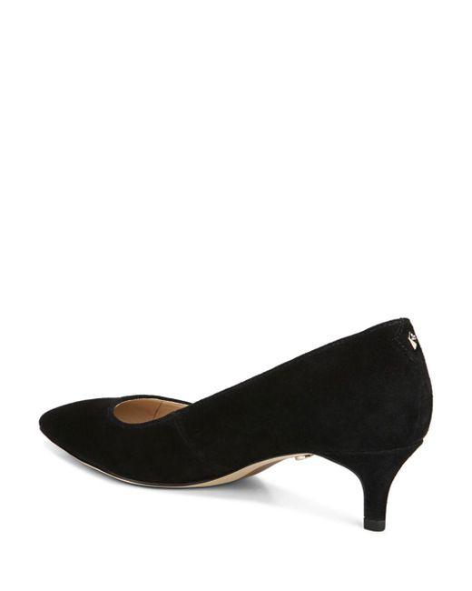 Black Suede Kitten Heel Pumps
