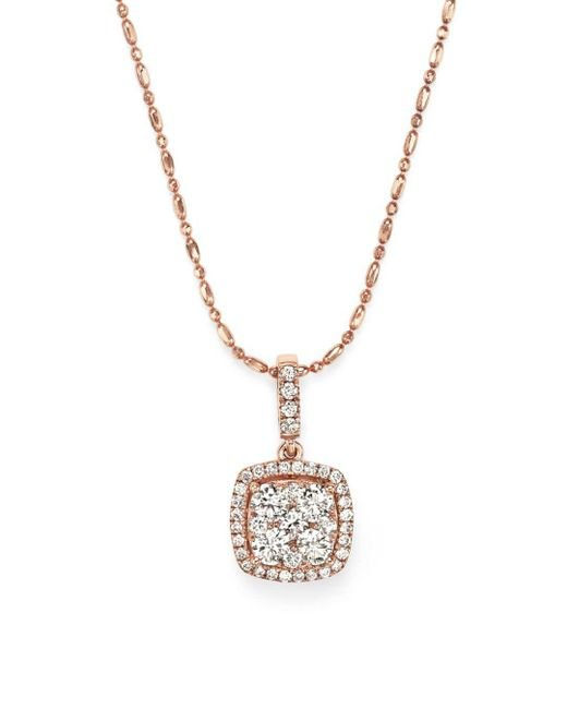 Bloomingdale's - Metallic Diamond Pendant Necklace In 14k Rose Gold, .65 Ct. T.w. - Lyst