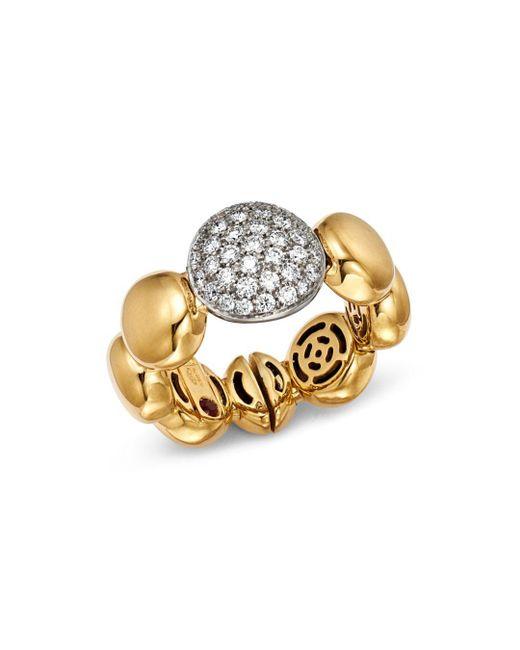 Roberto Coin - Metallic 18k White & Yellow Gold Pavé Diamond Disc Ring - Lyst